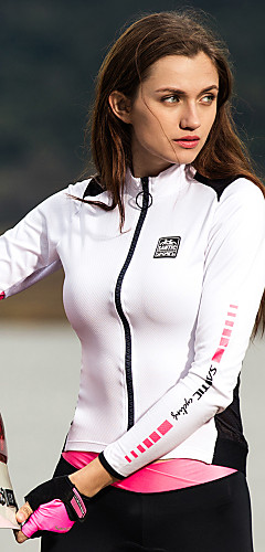 رخيصةأون -SANTIC نسائي كم طويل جورسيه الدراجة الشتاء بوليستر أبيض + وردي لون الصلبة الدراجة سترة جورسيه قمم دراجة جبلية دراجة الطريق الدفء سريع جاف الأشعة فوق البنفسجية مقاوم رياضات ملابس / قابل للبسط / متقدم