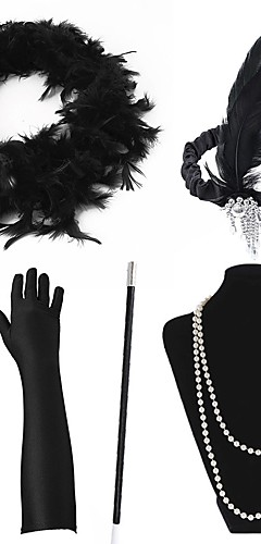 economico -The Great Gatsby Charleston Vintage 1920s Ruggenti anni '20 Set di accessori per costumi Guanti Collane Fascia per capelli da ballerina charleston Per donna Costume Cappelli Collana Sciarpa Collana