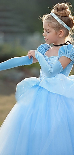 baratos -Princesa Cinderella Vintage Fantasia Vestidos Para Meninas Ocasiões Especiais Roxo / Azul Vintage Cosplay Manga Curta
