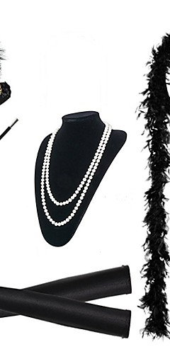 economico -The Great Gatsby Charleston 1920s Ruggenti anni '20 Set di accessori per costumi Guanti Collane Fascia per capelli da ballerina charleston Per donna Costume Nero / Bianco / Rosso Vintage Cosplay