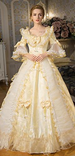 abordables -Princesse reine Elizabeth Victorienne Rococo Baroque 18ème siècle Col Carré Robe Tenue Costume de Soirée Bal Masqué Femme Dentelle Costume Doré Vintage Cosplay Soirée Fête scolaire Manches 3/4