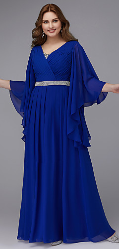 cheap -A-Line Plus Size Blue Wedding Guest Formal Evening Dress V Neck Long Sleeve Floor Length Chiffon with Crystals Sequin 2020