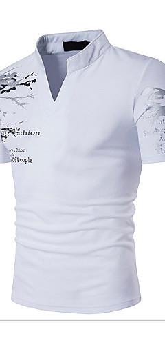 abordables -Homme Tee-shirt Graphique Couleur Pleine Imprimé Manches Courtes Mince Hauts Coton Actif Bohème Mao Blanche Noir Rouge / Sports / Eté