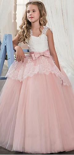 economico -Cinderella Da principessa Vestiti Vestito da Serata Elegante Da ragazza Per bambini Organza Costume Viola / Rosso / Rosa Vintage Cosplay Senza maniche / Abito / Abito