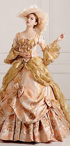 abordables -Rococo Victoriens 18ème siècle Robe Costume de Soirée Bal Masqué Femme Dentelle Coton Costume Doré Vintage Cosplay Soirée Fête scolaire Manches Longues Longueur Sol Long Robe de Soirée / Chapeau
