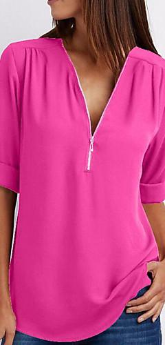 billige -V-hals T-skjorte Dame - Ensfarget Lyseblå