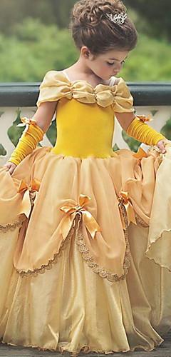 baratos -Princesa Belle Vintage Vestidos Festa a Fantasia Para Meninas Crianças Ocasiões Especiais Azul Céu / Amarelo / Lavanda Vintage Cosplay Sem Manga