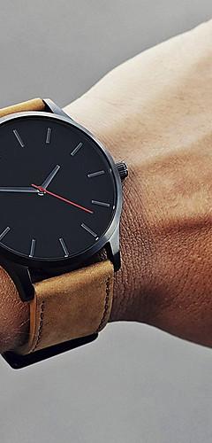 ราคาถูก -สำหรับผู้ชาย นาฬิกาตกแต่งข้อมือ นาฬิกาข้อมือ นาฬิกาอิเล็กทรอนิกส์ (Quartz) หนัง ดำ / น้ำตาล 30 m ดีไซน์มาใหม่ นาฬิกาใส่ลำลอง เท่ห์ ระบบอนาล็อก คลาสสิก ไม่เป็นทางการ แฟชั่น ดูง่าย - / หนึ่งปี