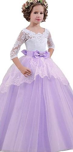 hesapli -Prenses Vintage Elbiseler Parti Kostümleri Genç Kız Kostüm Mor / Mavi / Pembe Eski Tip Cosplay Kolsuz