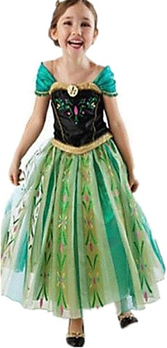 baratos -Anna Vestidos Festa a Fantasia Vestido de Natal Crianças Para Meninas Natal Dia Das Bruxas Dia da Criança Festival / Celebração Poliéster Verde Trajes de Carnaval Retalhos