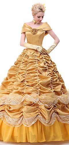 baratos -Princesa Belle Vestidos Fantasias de Cosplay Todos Cosplay de Filmes Amarelo Vestido Anágua Fitas Natal Dia Das Bruxas Ano Novo Cetim