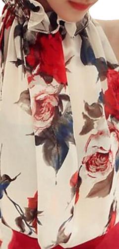 ราคาถูก -สำหรับผู้หญิง เสื้อสตรี ฝ้าย ลายพิมพ์ คล้องไหล่ ลายดอกไม้ ขาว / ฤดูร้อน / Sexy