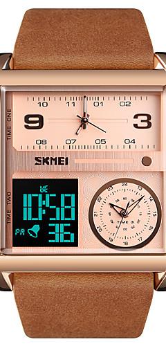 ราคาถูก -SKMEI สำหรับผู้ชาย นาฬิกาแนวสปอร์ต นาฬิกาทหาร นาฬิกาดิจิตอล ดิจิตอล ที่มีขนาดใหญ่ หนังแท้ ดำ / น้ำตาล 30 m กันน้ำ นาฬิกาปลุก ปฏิทิน อะนาล็อก-ดิจิตอล ความหรูหรา แฟชั่น แฟนซี - สีทองน้ำตาล Rose Gold