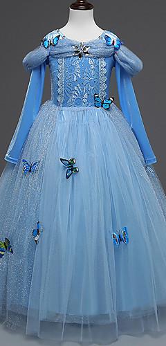 economico -Elsa Costumi Cosplay Per bambini Da ragazza Vestiti Natale Halloween Carnevale Feste / vacanze Tulle Cotone Blu Costumi carnevale Farfalla Da principessa