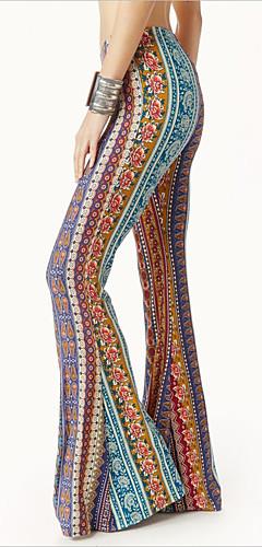 abordables -Hippie Disco Rétro Vintage Années 60 Hippie Années 70 Disco Pantalon Femme Coton Costume Imprimé / Jaune / Bleu Encre Vintage Cosplay