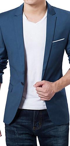 abordables -Homme Col en V Blazer Normal Couleur Pleine Quotidien Travail Grandes Tailles Printemps Automne Manches Longues Vin / Noir / Bleu de minuit M / L / XL / Affaires formelles / Mince