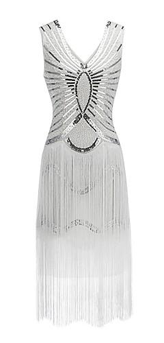 voordelige -The Great Gatsby Charleston Vintage 1920s Flapper Dress Feestkostuum Dames Lovertje  Kostuum Zwart / Gouden / Wit Vintage Cosplay Feest Schoolfeest Mouwloos Over de knie / Kleding / Kleding