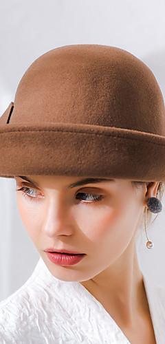 povoljno -Audrey Hepburn Žene Odrasli dame Retro / vintage Klobučevine šešir Crn Braon Srebrna Vintage Cvijet Vuna Šeširi Lolita Pribor