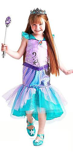 ราคาถูก -The Little Mermaid Aqua Princess คอสเพลย์และคอสตูม สำหรับเด็ก เด็กผู้หญิง ซึ่งทำงานอยู่ วันฮาโลวีน วันคริสต์มาส วันฮาโลวีน เทศกาลคานาวาล Festival / Holiday ตูเล่ ฝ้าย สีเขียว ชุดเทศกาลคานาวาว เงือก