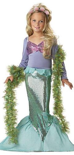 ราคาถูก -The Little Mermaid คอสเพลย์และคอสตูม Halloween Props เด็ก เบื้องต้น เด็กผู้หญิง Princess Lolita วันฮาโลวีน วันฮาโลวีน Festival / Holiday Polyster สีเขียว ชุดเทศกาลคานาวาว เจ้าหญิง เงือก
