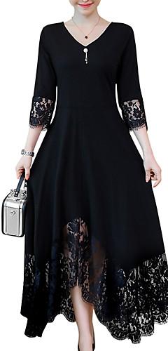 ราคาถูก -สำหรับผู้หญิง ขนาดพิเศษ รูปตัว เอ แต่งตัว - ลูกไม้ปัก, สีพื้น ขนาดใหญ่ คอวี Black
