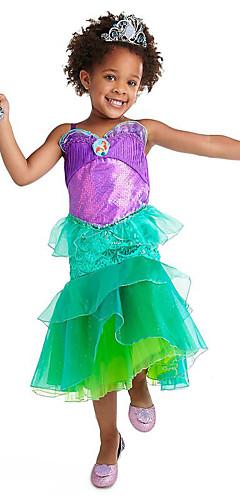 ราคาถูก -The Little Mermaid Aqua Princess คอสเพลย์และคอสตูม สำหรับเด็ก เด็กผู้หญิง ซึ่งทำงานอยู่ ลายเลื่อม วันคริสต์มาส วันฮาโลวีน เทศกาลคานาวาล Festival / Holiday ตูเล่ เลื่อม สีเขียว ชุดเทศกาลคานาวาว