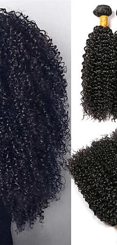 billige -3 pakker Hårvever Brasiliansk hår Kinky Curly Hairextensions med menneskehår Remy Menneskehår 100% Remy Hair Weave Bundles 300 g Menneskehår Vevet Hairextensions med menneskehår 8-28 tommers Naturlig