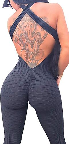 ราคาถูก -สำหรับผู้หญิง สูงกว่าปกติ Jumpsuit ออกกำลังกาย Ruched Butt Lifting สีทึบ สีดำ ขาว น้ำเงินท้องฟ้า สีม่วง สีบานเย็น สแปนเด็กซ์ โยคะ การออกกำลังกาย ยิมออกกำลังกาย เลกกิ้ง Bodysuit Romper เสื้อไม่มีแขน