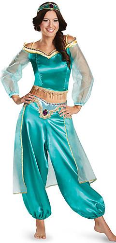 economico -Principessa Jasmine Costumi Cosplay Per adulto Per donna Halloween Natale Halloween Carnevale Feste / vacanze Tulle Poliestere Azzurro chiaro / Verde / Blu Per donna Costumi carnevale Da principessa