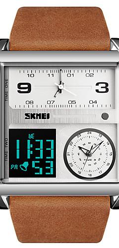 ราคาถูก -สำหรับผู้ชาย นาฬิกาแนวสปอร์ต นาฬิกาทหาร นาฬิกาดิจิตอล ดิจิตอล หนังแท้ ดำ / น้ำตาล 30 m กันน้ำ นาฬิกาปลุก ปฏิทิน อะนาล็อก-ดิจิตอล ความหรูหรา แฟชั่น - สีดำ สีน้ำตาลดำ ดำ / สีเทา / หนึ่งปี / โครโนกราฟ