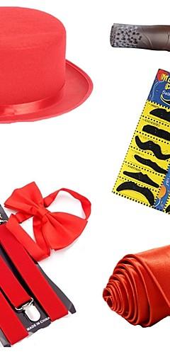 baratos -Fantasias de Filme e Tema de TV The Great Gatsby Vintage Anos 20 Chapéus Roupa Homens Ocasiões Especiais Gravata chapéu Preto / Branco / Vermelho Vintage Cosplay Festa Baile de Formatura Sem Manga