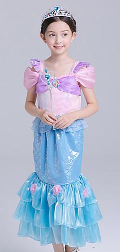 ราคาถูก -The Little Mermaid Aqua Princess คอสเพลย์และคอสตูม สำหรับเด็ก เด็กผู้หญิง ซึ่งทำงานอยู่ วันฮาโลวีน วันคริสต์มาส วันฮาโลวีน เทศกาลคานาวาล Festival / Holiday ผ้าไหมแก้ว ฝ้าย ฟ้า ชุดเทศกาลคานาวาว เงือก