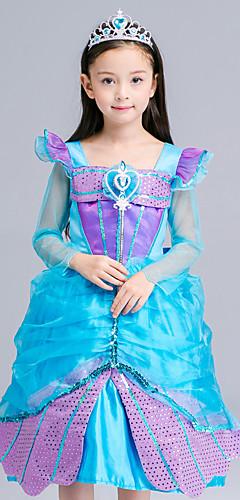 ราคาถูก -The Little Mermaid Aqua Princess คอสเพลย์และคอสตูม สำหรับเด็ก เด็กผู้หญิง ซึ่งทำงานอยู่ ลายเลื่อม วันคริสต์มาส วันฮาโลวีน เทศกาลคานาวาล Festival / Holiday ลูกไม้ เลื่อม ฟ้า ชุดเทศกาลคานาวาว