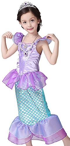 ราคาถูก -The Little Mermaid คอสเพลย์และคอสตูม Halloween Props เด็ก เบื้องต้น เด็กผู้หญิง Mermaid and Trumpet Gown Slip วันฮาโลวีน วันฮาโลวีน Festival / Holiday Polyster สีม่วง ชุดเทศกาลคานาวาว เจ้าหญิง เงือก