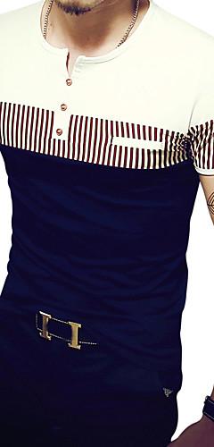 abordables -Homme Tee-shirt Rayé Bloc de Couleur Graphique Patchwork Manches Courtes Mince Hauts Actif Col Arrondi Blanche Orange Bleu Marine / Eté