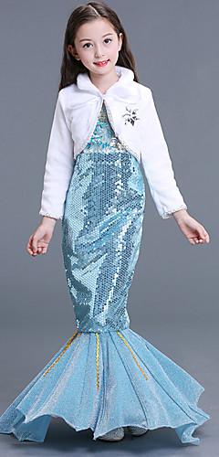 ราคาถูก -The Little Mermaid Aqua Princess หนึ่งชิ้น ชุดเดรส สำหรับเด็ก เด็กผู้หญิง Mermaid and Trumpet Gown Slip วันฮาโลวีน เทศกาลคานาวาล เสื้อผ้าที่สวมไปงานเต้นรำสวมหน้ากาก Festival / Holiday เลื่อม Terylene