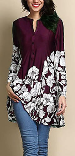 ราคาถูก -สำหรับผู้หญิง ขนาดพิเศษ เสื้อสตรี ลายดอกไม้ สีน้ำเงินกรมท่า
