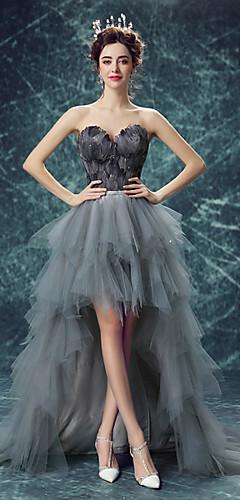economico -Cigno nero Vestiti Per donna Cosplay da film Con lacci Vitino di vespa Grigio Abito Halloween Carnevale Mascherata Organza Piume