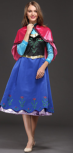 baratos -Anna Fantasias de Cosplay Adulto Mulheres Vestidos Natal Dia Das Bruxas Carnaval Festival / Celebração Aveludado Cetim Azul Trajes de Carnaval Princesa