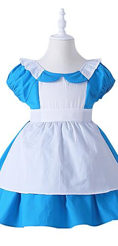 hesapli -Alice in Wonderland Cosplay Kostümleri Çocuklar için Genç Kız Elbiseler Yılbaşı Cadılar Bayramı Karnaval Festival / Tatil Tül Pamuk Mavi Karnaval Kostümleri Prenses