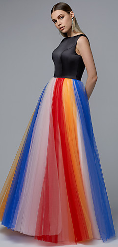 cheap -A-Line Elegant Prom Dress Jewel Neck Sleeveless Floor Length Satin Tulle with Pattern / Print 2020