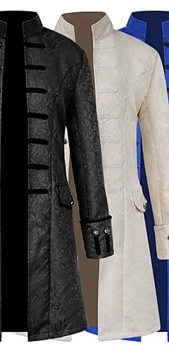 povoljno -Liječnik plague Srednjovjekovni Steampunk Kaput Mantil Muškarci Kostim Crn / Obala / Navy Plava Vintage Cosplay Dugih rukava