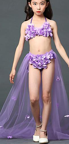 ราคาถูก -The Little Mermaid เจ้าหญิง Aqua Queen กระโปรง ชุดชั้นใน Samba สำหรับเด็ก เด็กผู้หญิง สายรุ้ง วันฮาโลวีน เทศกาลคานาวาล วันเด็ก Festival / Holiday ชุดชั้นในแบบChinlon ไนลอน สีม่วง ชุดเทศกาลคานาวาว