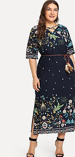 ราคาถูก -สำหรับผู้หญิง พื้นฐาน ฝ้าย เพรียวบาง ปลอก แต่งตัว ขนาดใหญ่ เอวสูง คอวีลึก