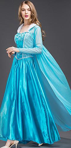 economico -Cinderella Elsa Costumi Cosplay Per adulto Per donna Vestiti Natale Halloween Carnevale Feste / vacanze Raso / tulle Cotone Blu Costumi carnevale Da principessa