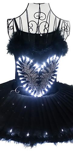 povoljno -Balet Crni labud LED Slojevito Haljine kratka baletska suknja Suknja s mjehurićima Pod suknjom Žene Djevojčice Dječji Til Pamuk Kostim Crn / mat bijelo / Obala Vintage Cosplay Božić Party Halloween
