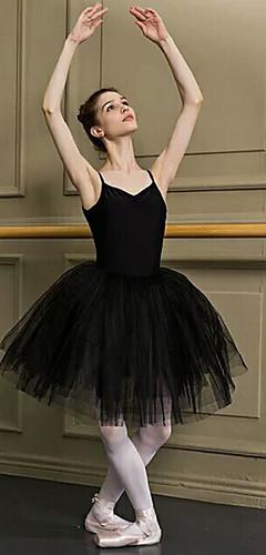 hesapli -Bale Siyah Kuğu Katmanlı Elbiseler tüt Kabarcık Etek Etek ALTI Kadın's Tül Kostüm Siyah / Beyaz Eski Tip Cosplay Noel Parti Halloween Kolsuz Kısa Uzunluk