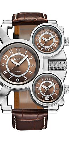 ราคาถูก -Oulm สำหรับผู้ชาย นาฬิกาข้อมือ นาฬิกาอิเล็กทรอนิกส์ (Quartz) หนัง ดำ / น้ำตาล 30 m แสดงสามเวลา ปุ่มหมุนขนาดใหญ่ ระบบอนาล็อก รูปหัวใจ แฟชั่น - ขาว สีดำ กาแฟ หนึ่งปี อายุการใช้งานแบตเตอรี่ / Jinli 377