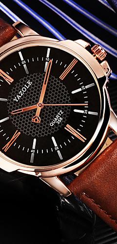 ราคาถูก -สำหรับผู้ชาย นาฬิกาตกแต่งข้อมือ นาฬิกาอิเล็กทรอนิกส์ (Quartz) หนัง ดำ / น้ำตาล กันกระแทก นาฬิกาใส่ลำลอง ระบบอนาล็อก คลาสสิก แฟชั่น - สีดำ สีน้ำตาล สีดำและสีขาว หนึ่งปี อายุการใช้งานแบตเตอรี่