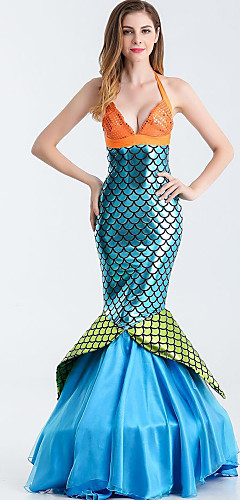 ราคาถูก -หางนางเงือก Aqua Queen Aqua Princess คอสเพลย์และคอสตูม Party Costume สำหรับผู้หญิง คอสเพลย์ภาพยนตร์ ฟ้า ชุดชั้นใน Tail วันฮาโลวีน เทศกาลคานาวาล เสื้อผ้าที่สวมไปงานเต้นรำสวมหน้ากาก Terylene